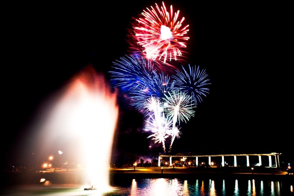 A fireworks display over a body of water