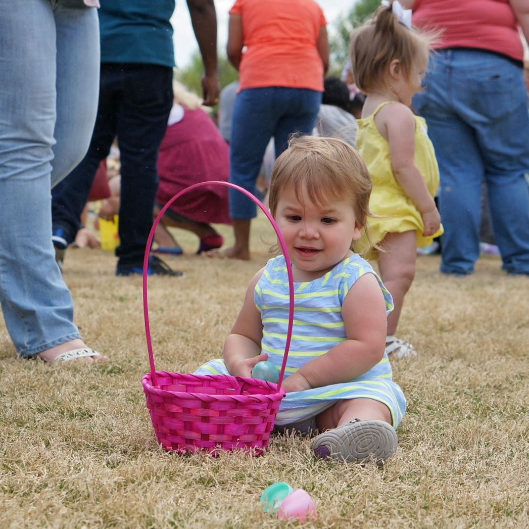 Easter- Baby picking up eggs