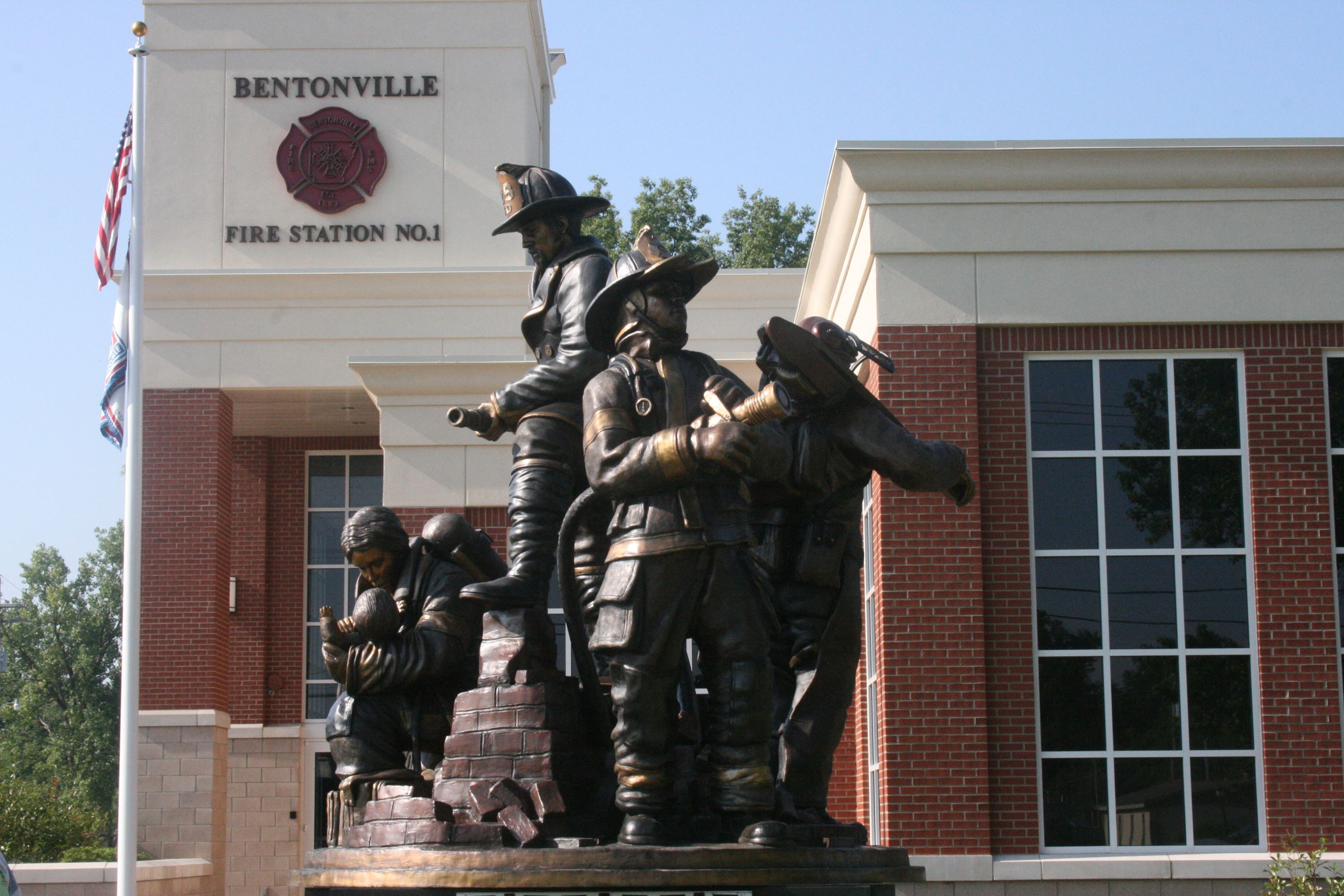 Rendering of Fire Station with a statue