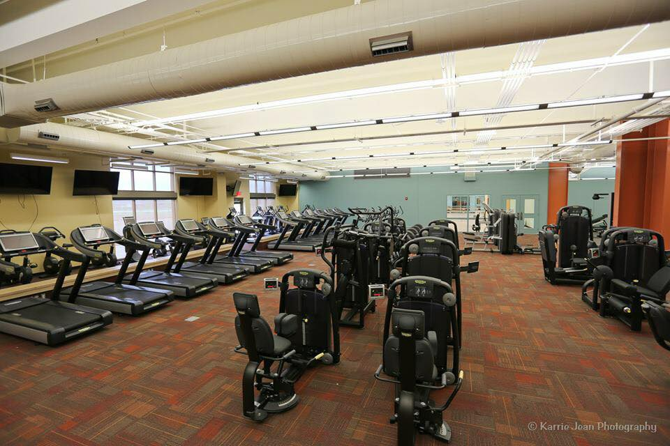 Interior of gym with machines