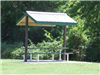 Durham Place Pavilion in grass with picnic table