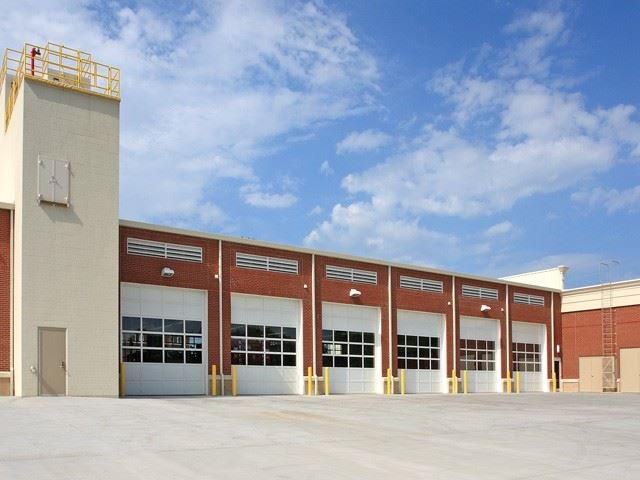 Rear of station one apparatus bay and training building