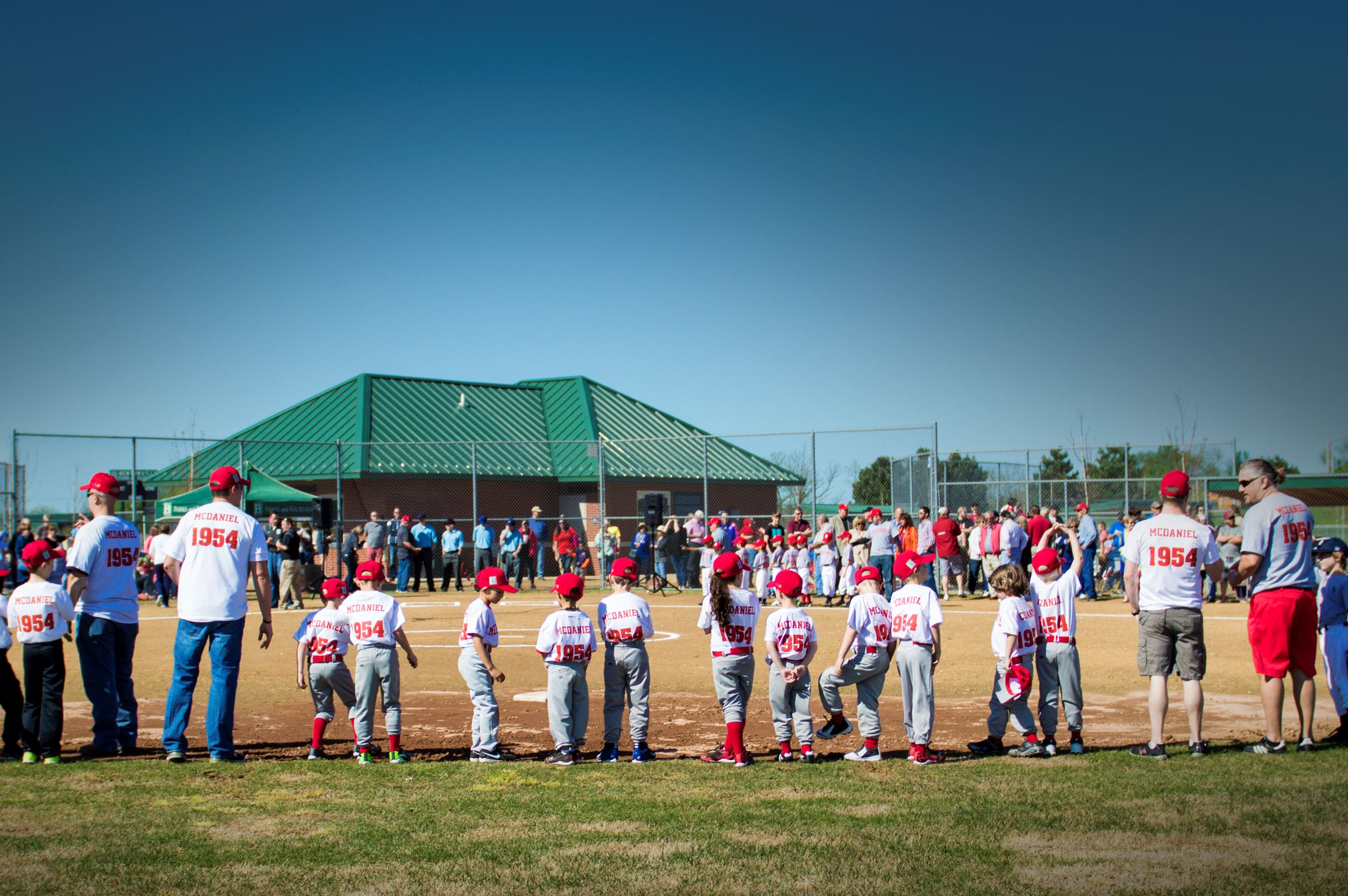 Merchants Baseball Park Little League players in baseball diamond